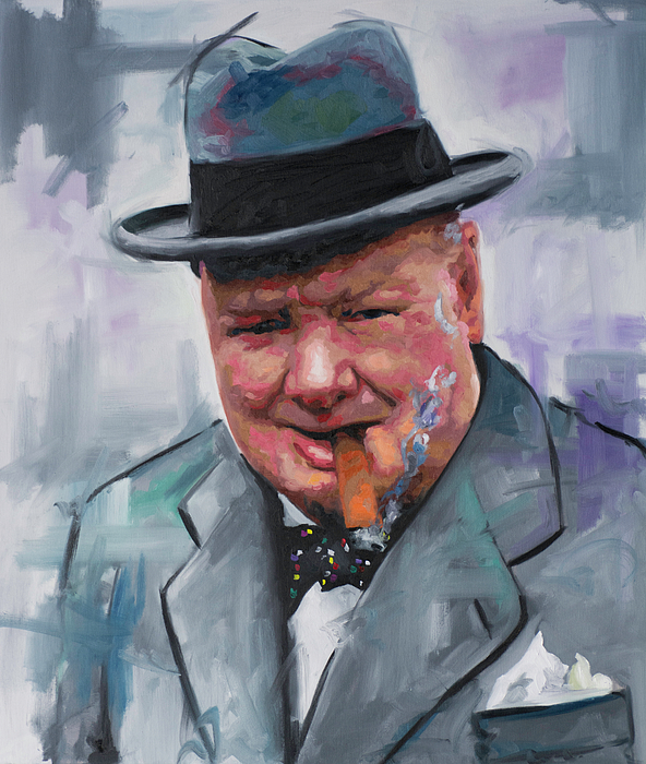 Winston Churchill Cigar Duvet Cover For Sale By Richard Day