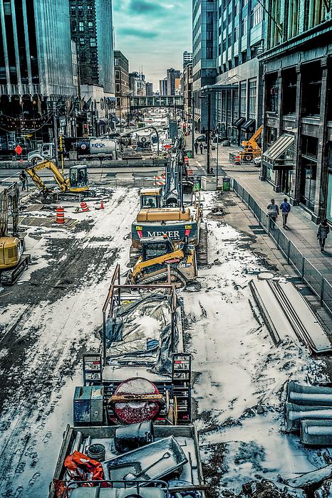 Chellie Bock - Winter Construction On Nicollet Mall Minneapolis