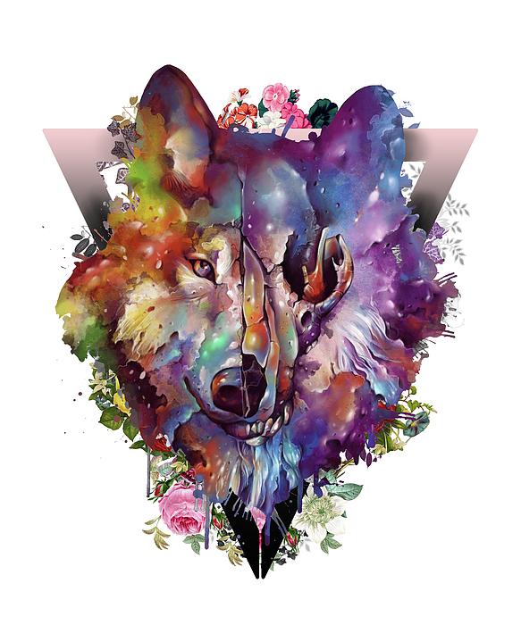 Wolf Colorful Digital Art