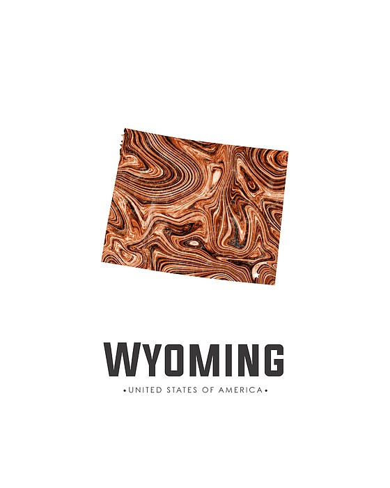 Wyoming Map Art Abstract In Brown Mixed Media