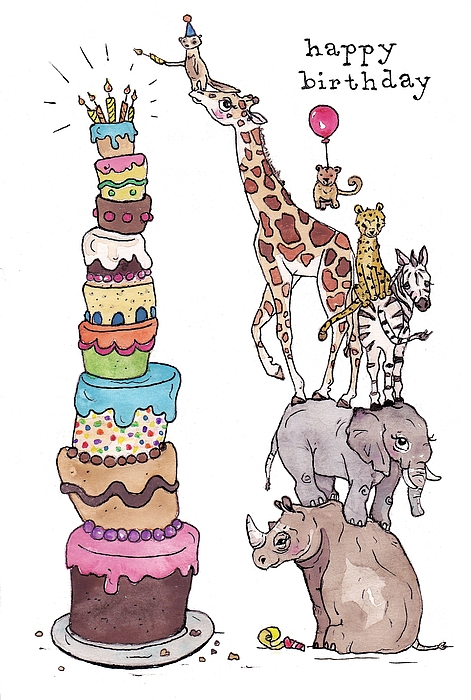 Fabulous Zoo Animals Happy Birthday Card Greeting Card For Sale By Katrina Funny Birthday Cards Online Alyptdamsfinfo