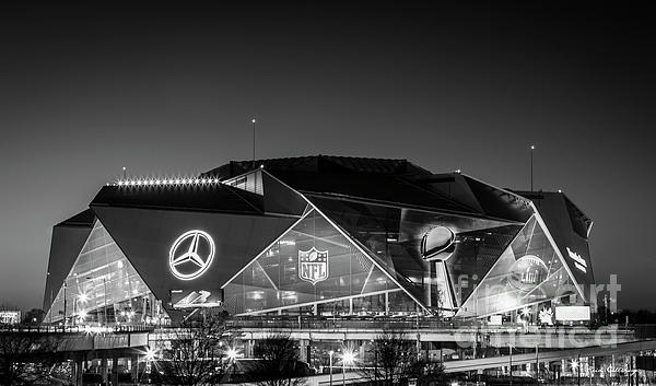 Reid Callaway - The Jewel Of Atlanta Mercedes- Benz Stadium B W Super Bowl L111 Atlanta Night Art