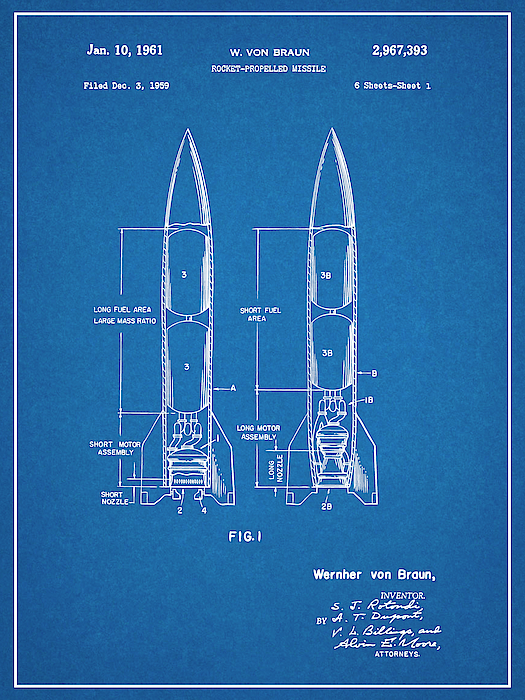 Choose From Multiple Size and Background Color Options Wernher Von Braun Rocket Missile Patent Print Art Poster