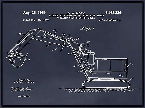 1969 Backhoe Excavator Patent Print Art Drawing Poster
