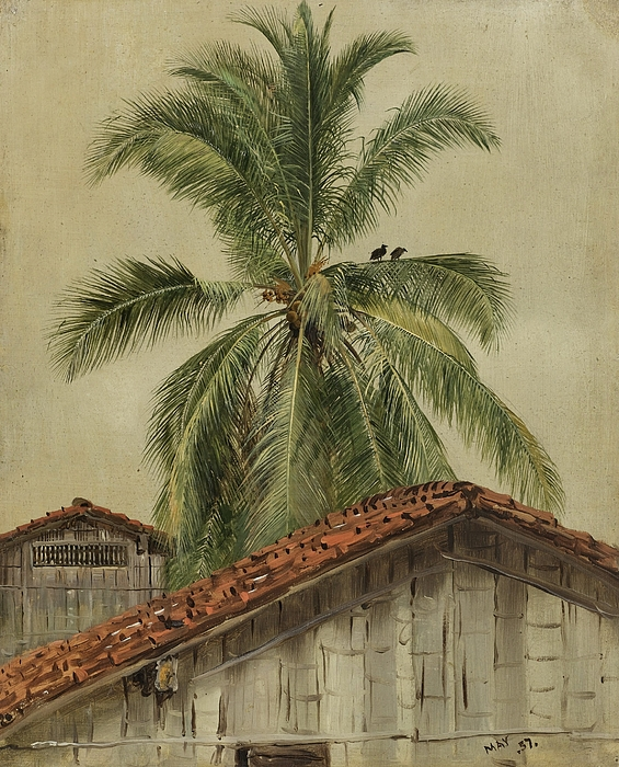 Frederic Edwin Church - Palm Trees and Housetops, Ecuador - Digital Remastered Edition