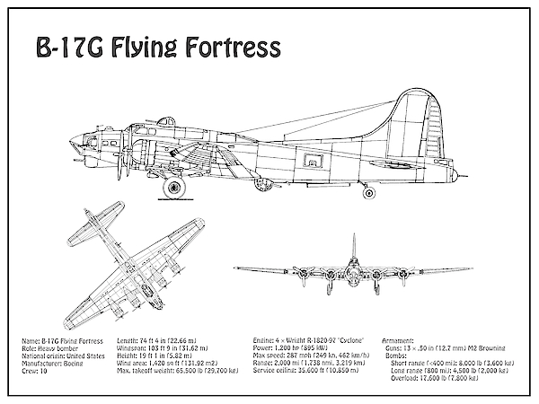 B-17 Flying Fortress - Airplane Blueprint  Drawing Plans For The Wwii  Boeing B-17 Flying Fortress Galaxy S8 Case