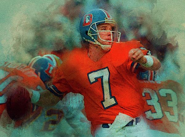 "Denver Broncos QB Elway 24/"" x 36/"" poster print"