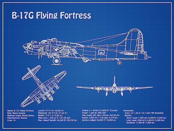 B-17 Flying Fortress - Airplane Blueprint  Drawing Plans For The Wwii  Boeing B-17 Flying Fortress IPhone X Case