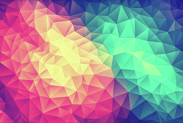 Abstract Polygon Multi Color Cubism Low Poly Triangle Design Digital Art
