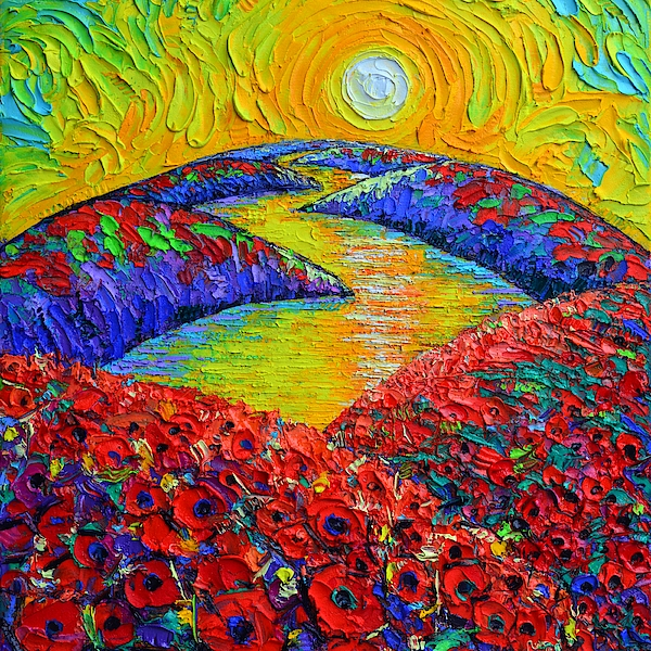 Ana Maria Edulescu - ABSTRACT TUSCANY POPPIES AT SUNRISE textural impasto palette knife oil painting Ana Maria Edulescu