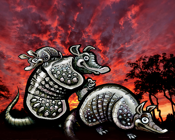 Armadillos Family At Sunset Digital Art
