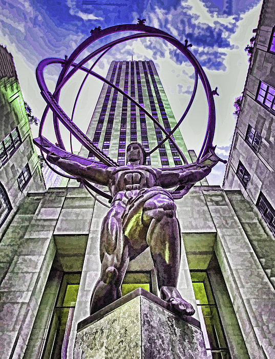 Allen Beatty - Atlas Statue - Rockefeller Center N Y C - Photopainting