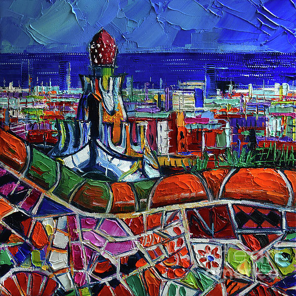 Mona Edulesco - Barcelona Impression - Impasto Palette Knife Oil Painting Mona Edulesco