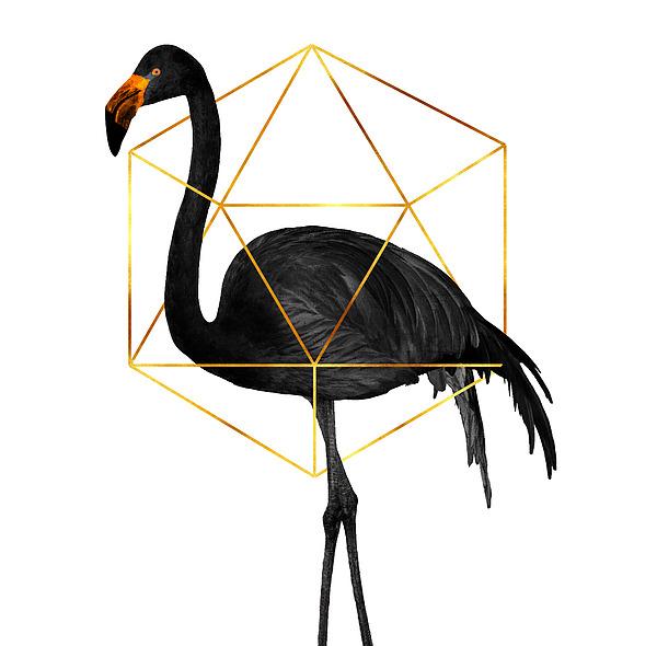Black Flamingo 6 - Tropical Wall Decor - Flamingo Posters - Exotic, Black, Gold, Modern, Minimal Mixed Media