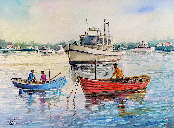 Boats On A Lake Painting