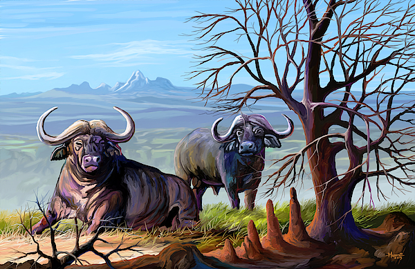 Buffaloes And The Mountain Painting