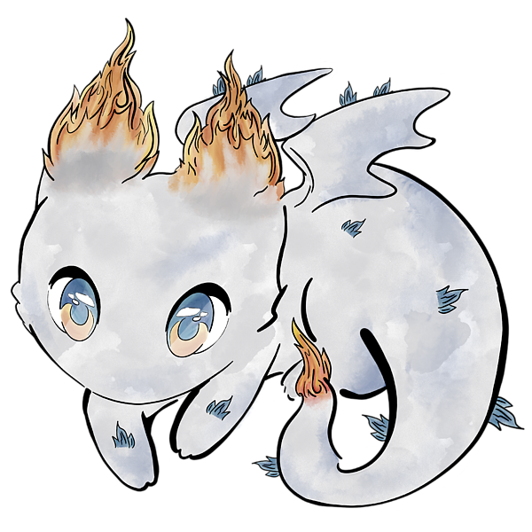 Chibi Dragon cute on Fire Long Sleeve T-Shirt for Sale by Andrea