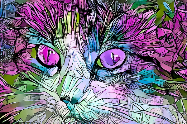 Don Northup - Coloring Book Kitty Purple Eyes