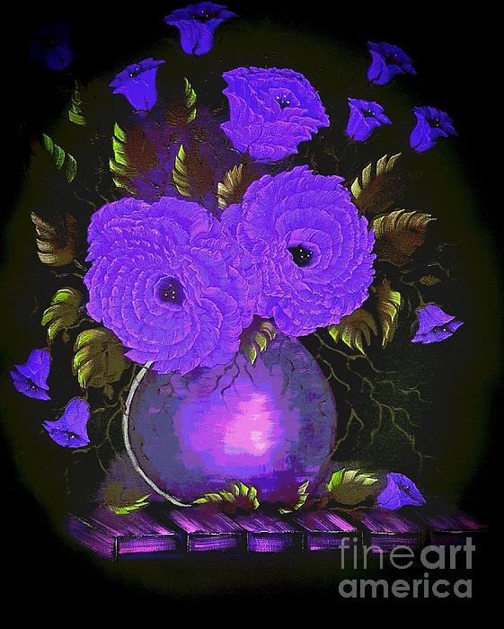 Angela Whitehouse - Deep dark passion roses purple posterize