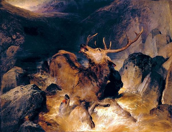 Edwin Henry Landseer - Deer and Deer Hounds in a Mountain Torrent - Digital Remastered Edition