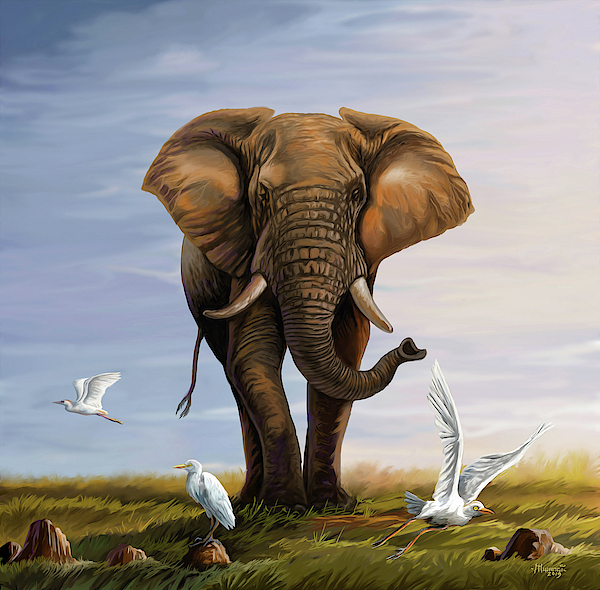 Elephant And Cattle Egrets Painting