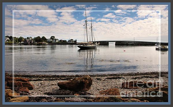 Sandra Huston - Framed Cobwork Bridge Bailey Island Maine