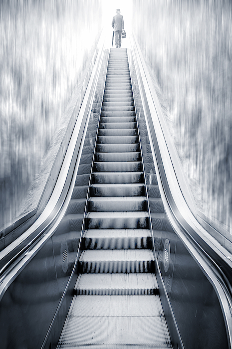 David Pereiras - Futuristic escalator between waterfalls and a man on the top, re