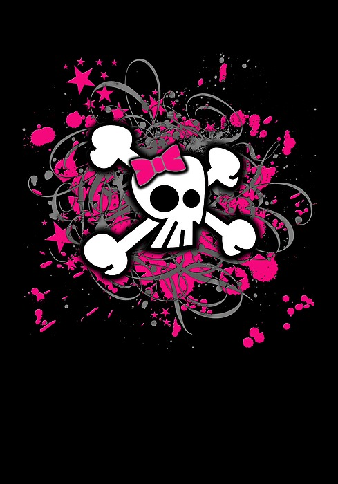 Girly Skull Crossbones Graphic Digital Art