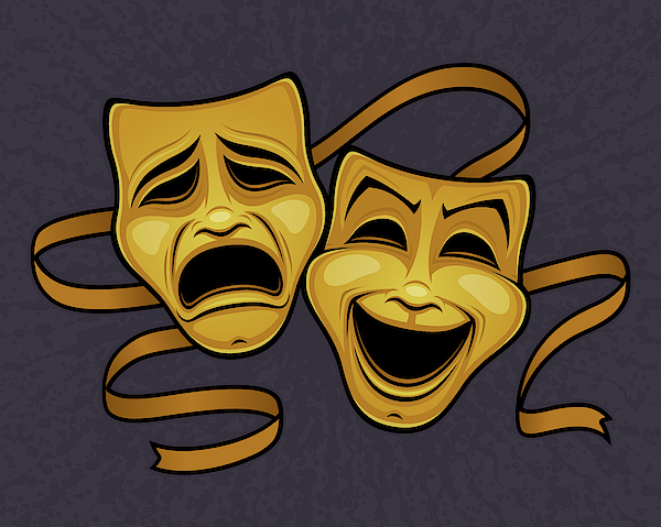 Gold Comedy And Tragedy Theater Masks Photograph