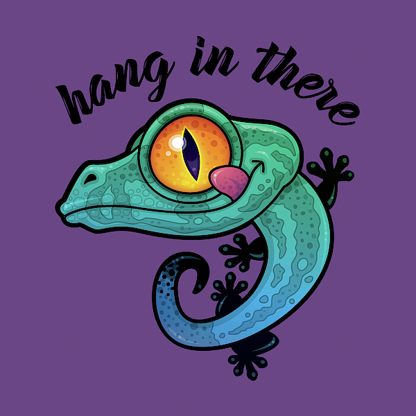 Hang In There Colorful Gecko Digital Art