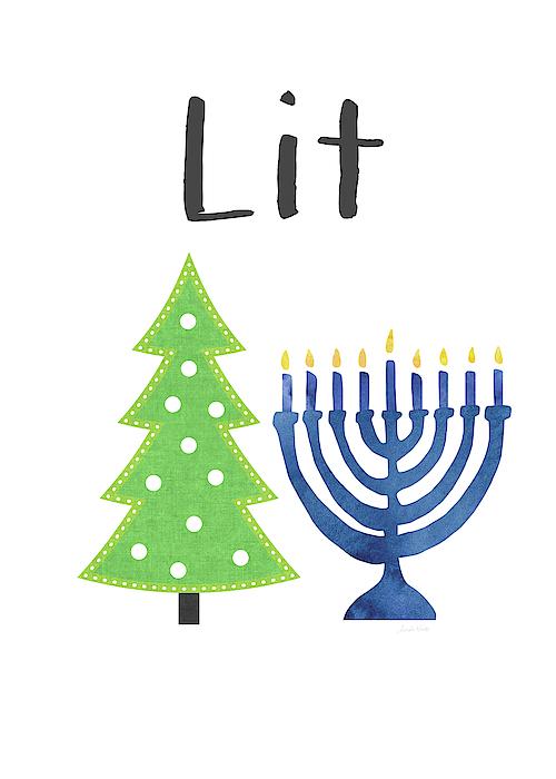 Christmas Hannakah.Lit Christmas And Hanukkah Art By Linda Woods Greeting Card