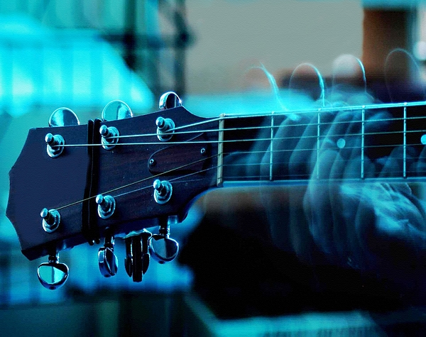 My Weeping Guitar - Performance In Blue Dim Light No. 2 Catus 2 No. 1 L B Digital Art