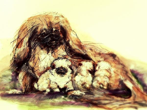 "Ron Hevener Pekingese Dog Figurine /""With Love/"""
