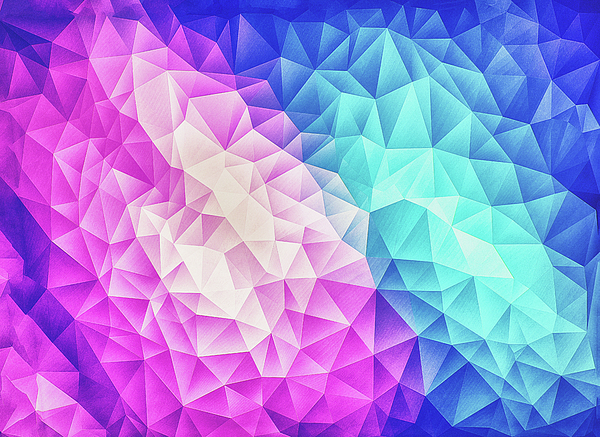 Pink Ice Blue  Abstract Polygon Crystal Cubism Low Poly Triangle Design Digital Art