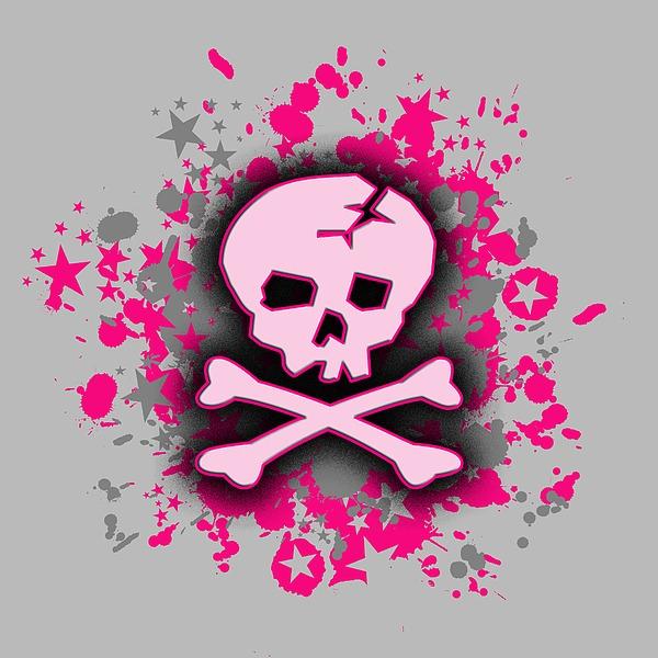 Pink Skull Splatter Graphic Digital Art