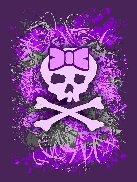 Purple Girly Skull Graphic Digital Art