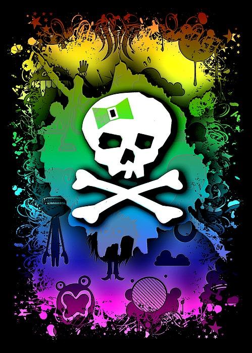 Rainbow Kawaii Skull Digital Art
