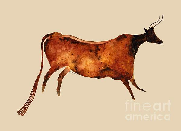 Red Cow In Beige Painting