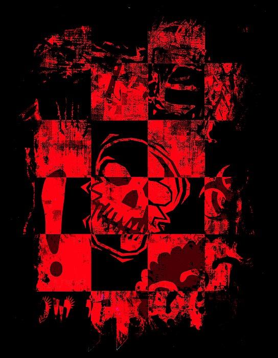 Red Grunge Skull Graphic Digital Art
