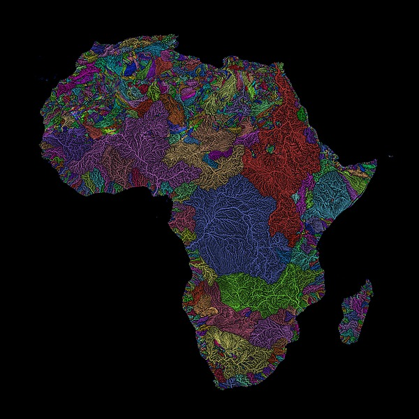 River Basins Of Africa In Rainbow Colours Digital Art