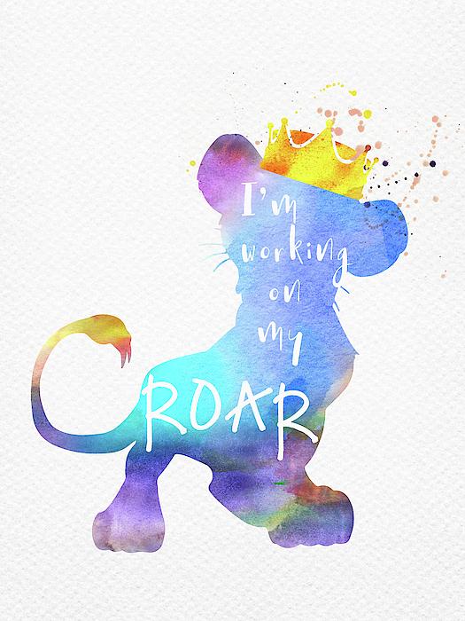 Roar Quote The Lion King Watercolor Duvet Cover