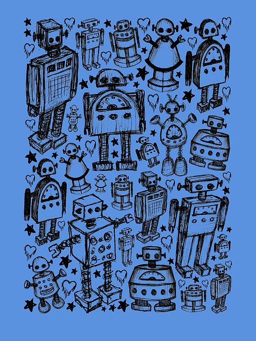 Robot Crowd Graphic Drawing
