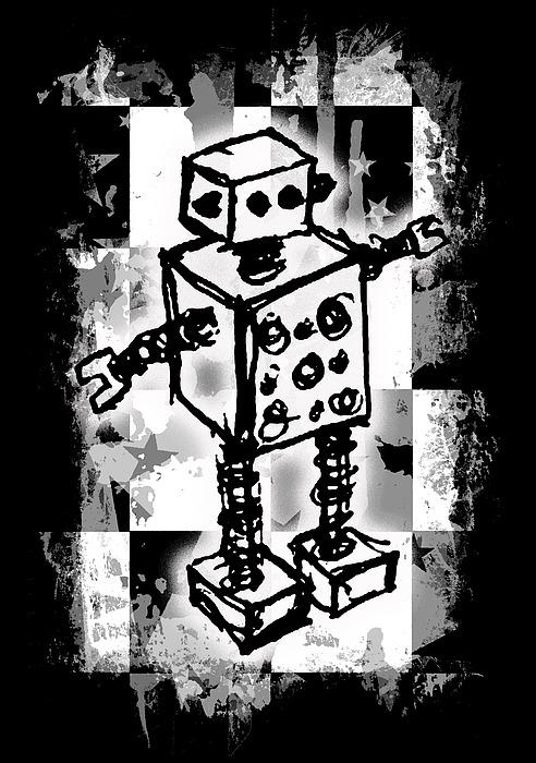 Sketched Robot Graphic Digital Art
