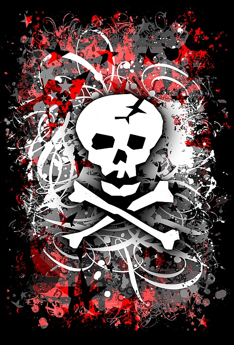 Skull Splatter Graphic Digital Art