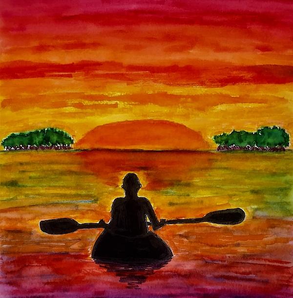 Sunset Kayaking Duvet Cover For Sale By Sheri L Art