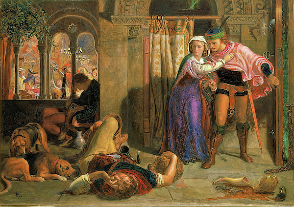 William Holman Hunt - The flight of Madeline and Porphyro during the drunkenness attending the revelry, 1857