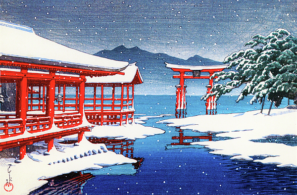 Kawase Hasui - THE MIYAJIMA SHRINE IN SNOW - Digital Remastered Edition