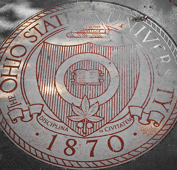 The Ohio State University Seal Red Photograph
