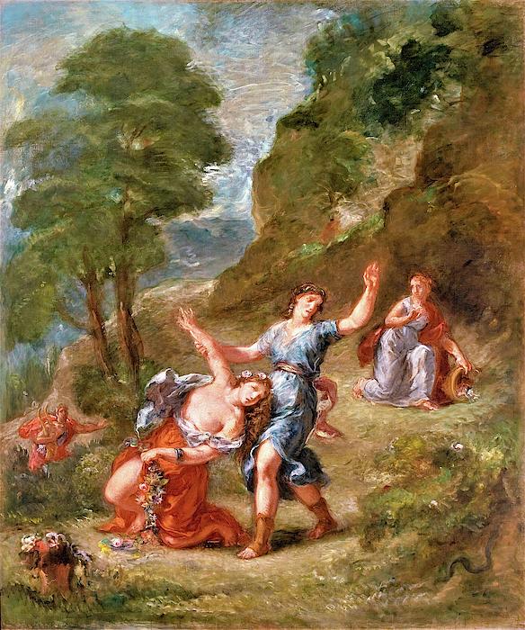 Eugene Delacroix - The Spring - Eurydice bitten by a serpent while picking flowers, Eurydice
