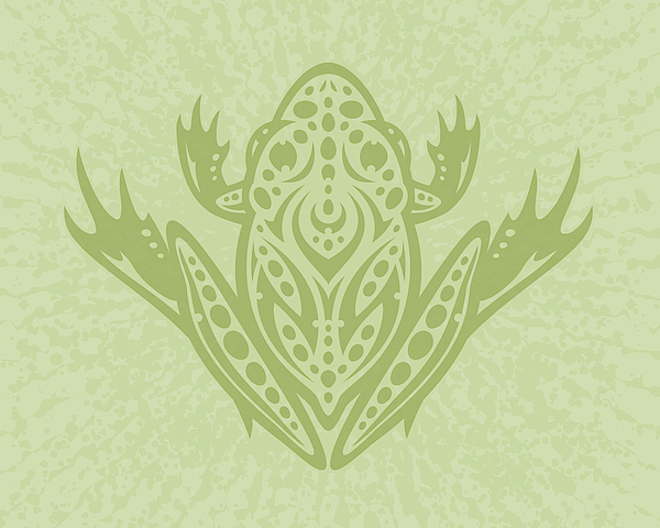 Tribal Leopard Frog - Green Digital Art